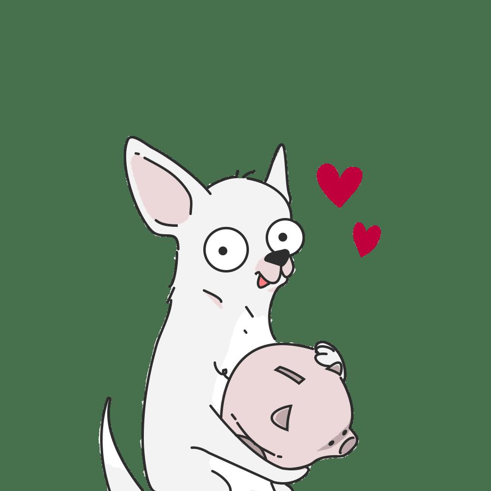 Disegno chihuahua bianco con salvadanaio in mano